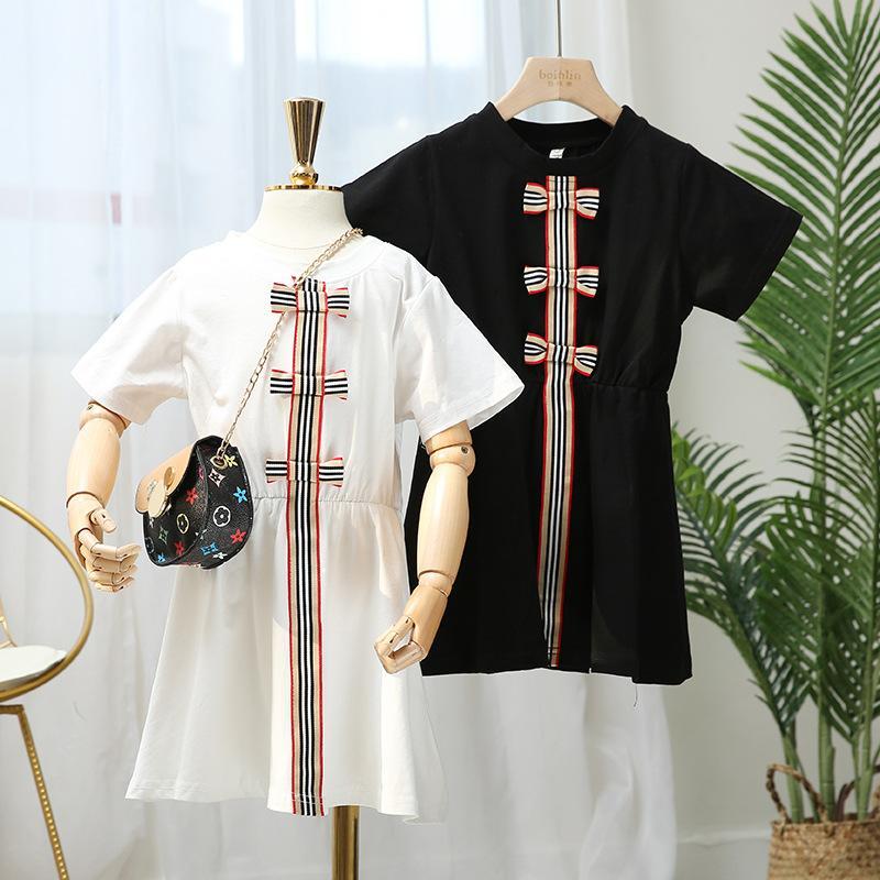Detailhandel / Groothandel Baby Meisjes Katoenen Jurken Meisje Korte Mouw Ronde Hals Mode Koreaanse Lint Bow Princess Jurk Chilldren Designers Kleding Kleding Kleding