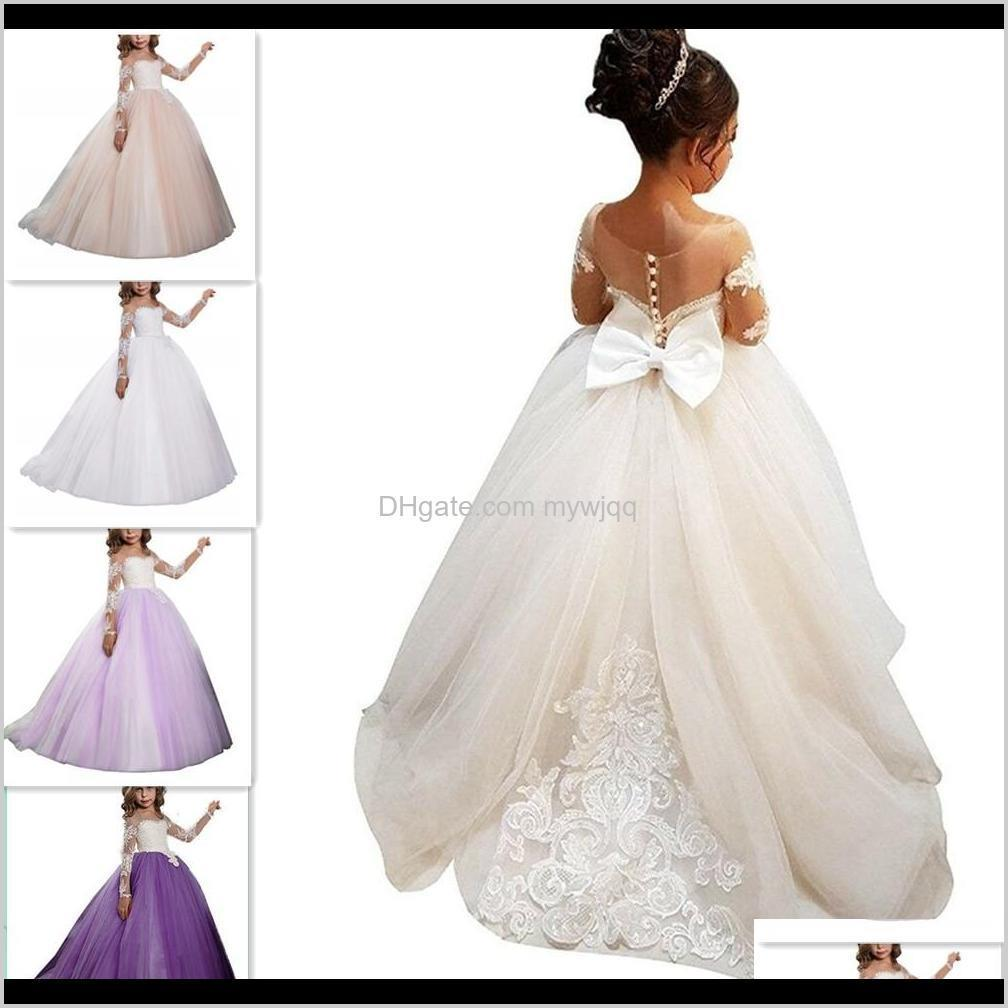 Girls Dresses Flower Girl Dress Brithday Party Wedding Formal Occasion Custom Princess Tutu Sequined Appliqued Lace Bow Kids First Com Mfnxo