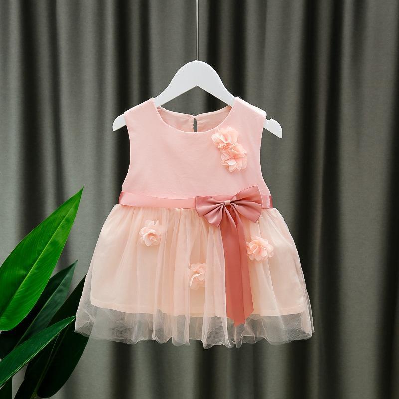 아기 소녀 드레스 2021 여름 민소매 무릎 길이 공주 생일 파티 메쉬 드레스 의상 유아 유아 아이 의류 소녀의