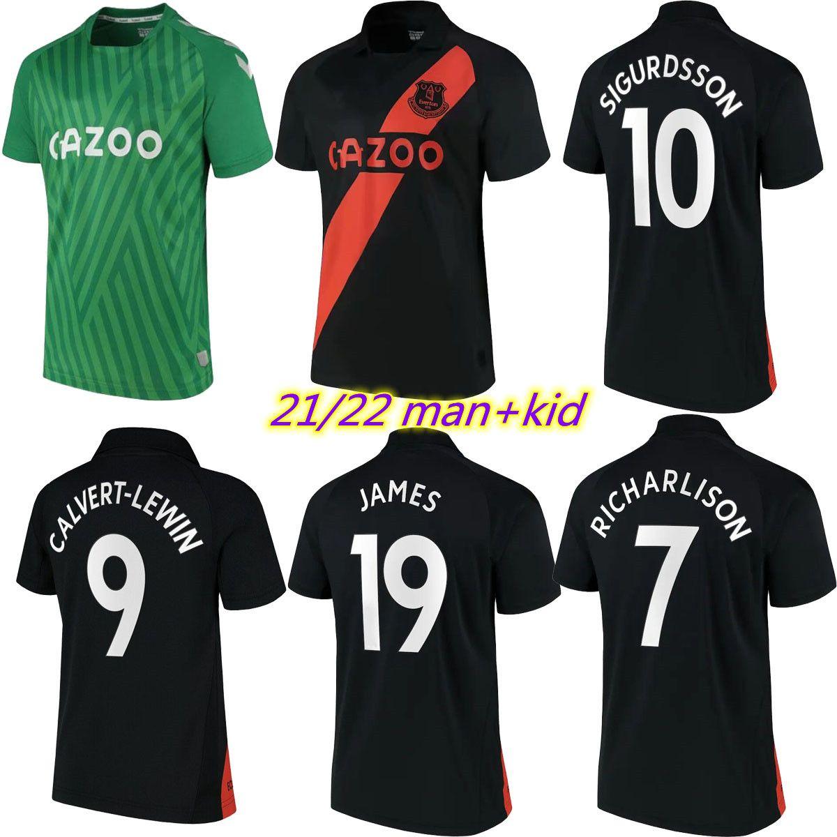 21 22 Calvert-Lewin Soccer Jerseys James Richarlison 2021 2022 Digne Sigurdsson Camisa de Futebol Doucoure Bernard Men + Kids Kit