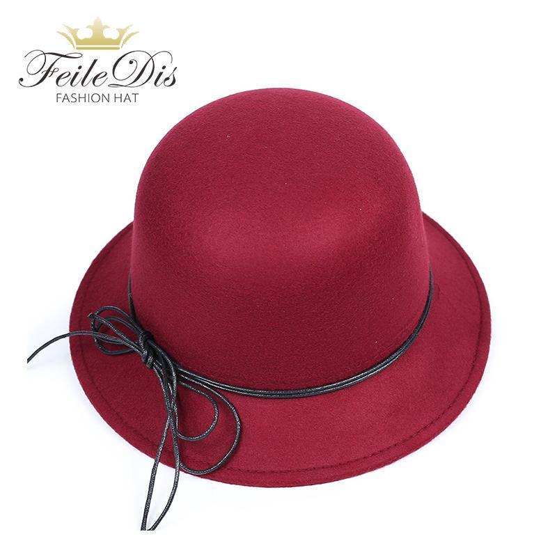 Stingy Rand Hüte [Feiledis] Schwarz Rot Fedora Für Frauen Imitation Wolle Fedoras Panama Filz Hut Winter Trilby Chapeau Femme Caps GLD-115