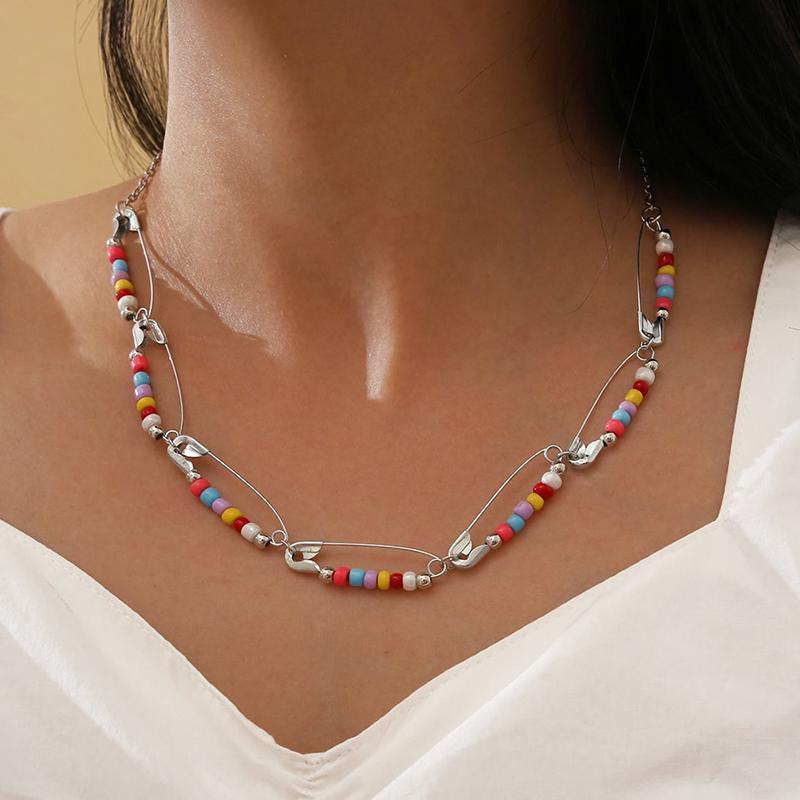 Aprilwell Bunte Perle Pin Choker Halskette für Frauen Collarbone Kette Y2k Schmuck Geschenk E Mädchen Freund Sandalen Chokers