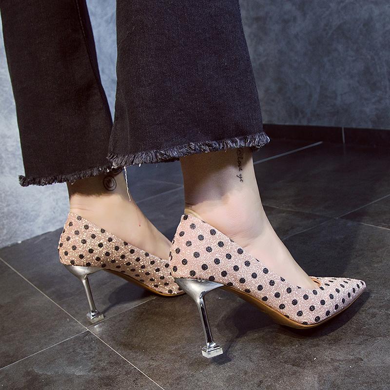 Seksi Küçük Taze Polka-Dot Sivri Kedi Sığır eti Tendon Sole Ayakkabı Ile Kadın Elbise