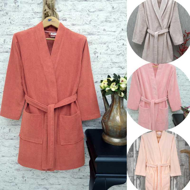 100% Cotton Bathrobe Velvet Long Thick Terry For Women Bath Soft Relax Dressing Gown Bridesmaid Robes Absorbent Waffle S/M Towel
