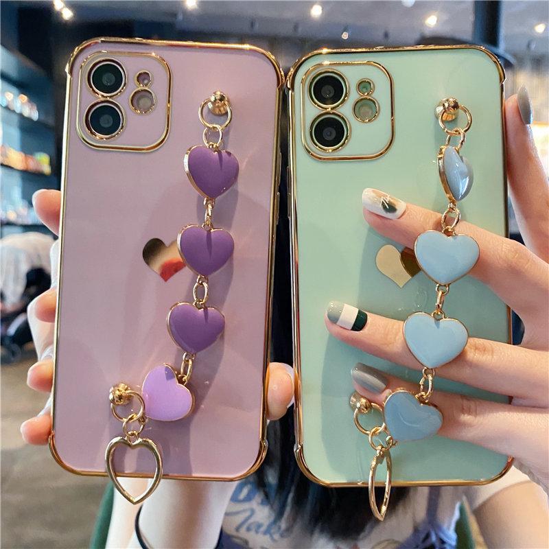 Coffrets de téléphone de poignet de poitrine de coeur de l'amour pour iPhone Pro Max XS XR x 7 8 plus 12 mini-11 housse de pare-chocs électrodétallisé souple
