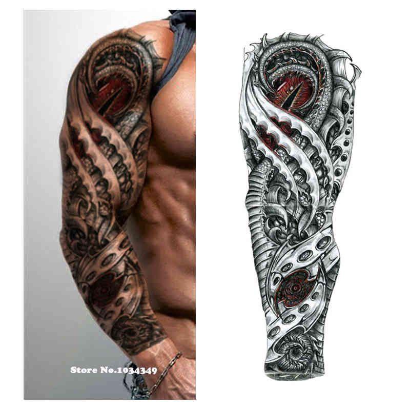 Nouveau 1 pièce Autocollant de tatouage temporaire Mécanique Tatouage de fleurs pleine de fleurs avec bras Art BRAND BIG GRAND FAIS Sticker Tattoo