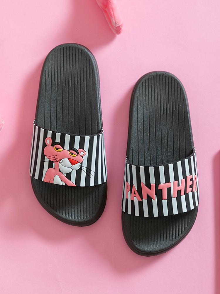 النعال الأزياء عدم الانزلاق الحمام لينة شاطئ الشرائح المنزل النساء لطيف الكرتون الوردي النمر الصيف الأحذية خارج