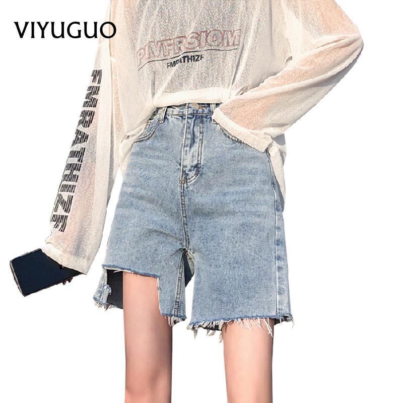 Kadın Kot Viyuguo Moda Yüksek Beled 2021 Yaz Gevşek Düz Yırtık Bayan Bule Denim Şort Artı Boyutu 30 32
