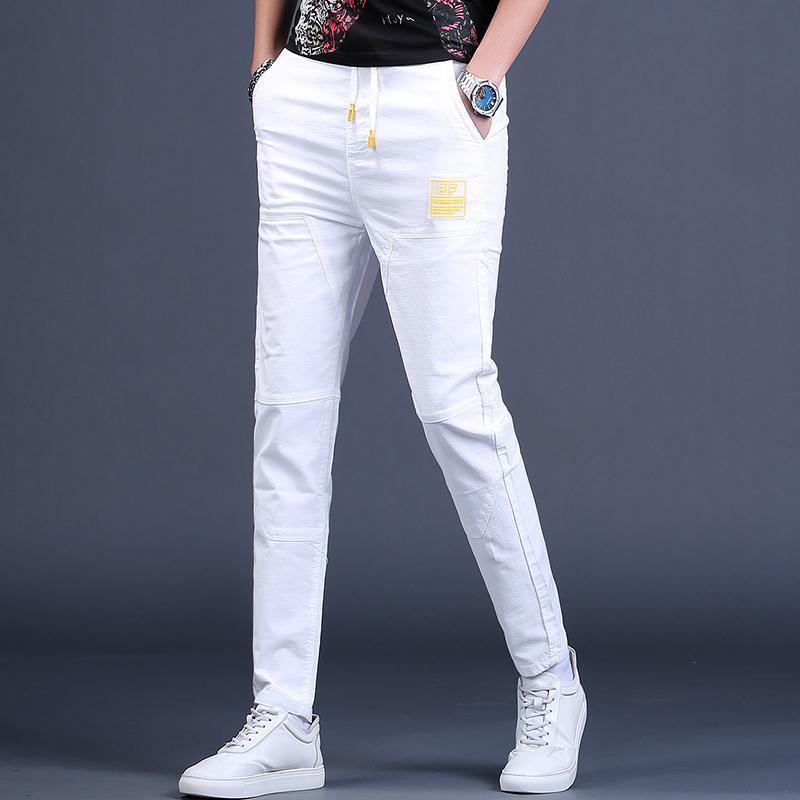 Pantolon Erkekler 2021 Yaz Casual Beyaz Joggers Elastik Bel Koşu Pantolon Erkekler