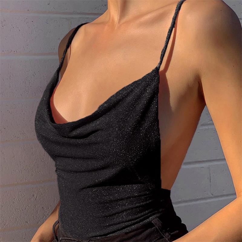 Spaghetti 스트랩 반짝이 뒷면의 여성 T 셔츠 느슨한 봄 간단한 티 chrismas 파티 복장