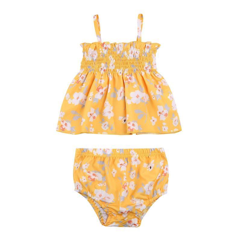 Ensembles de vêtements 0-24M Né Baby Girls Mode Tenue 2 pièces Ensemble Sans manches Floral Tops + Shorts pour enfants
