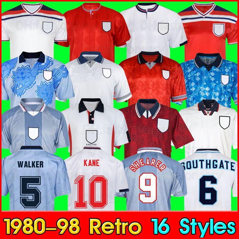 잉글랜드 레트로 축구 유저 남자 1980 89 90 92 94 98 레트로 축구 셔츠 Camisetas 드 Fútbol 레트로 저지 클래식 셔츠 빈티지 축구