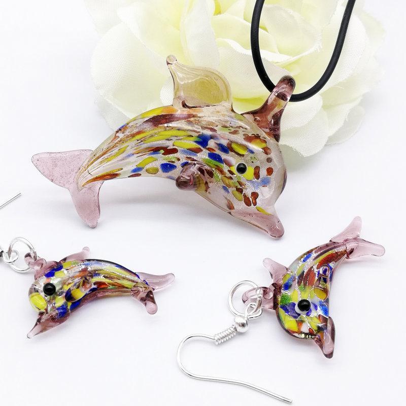 1Set Chinesische Stil Glas Murano Trendy Kreative DIY Purpurrote Liebe Delphin Anhänger Halskette Für Frauen Tier Charme Schmuck Geschenk Halsketten