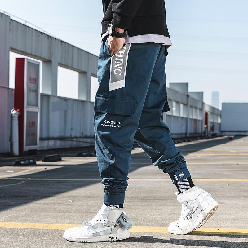 봄 캐주얼 하렘 바지 남자 발목 길이 사이드 포켓 바지 Streetwear Mens Joggers Men 's