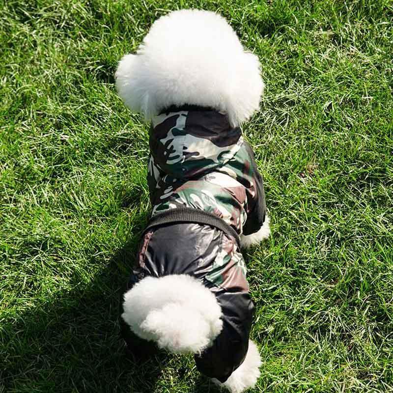 Köpek Giyim Kamuflaj Pet Giysileri Kış Sıcak Yavru Tulum Ceket Su Geçirmez Ceket Romper Küçük Orta Köpekler Kostüm Malzemeleri