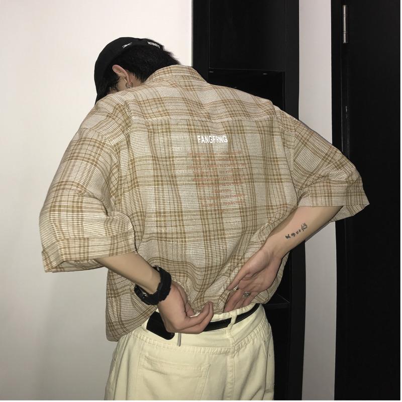 Осеннее летнее платье мужская стройная мода мужская повседневная уличная одежда с короткими рукавами Свободная классическая рубашка мужская полосатая клетчатка комфортабельные рубашки