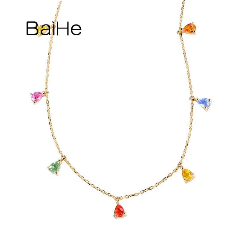 Solide 18 Karat Gelbgold 1.2ct Farbe Sapphirs Halsketten für Frauen Hochzeitsgeschenk Trendy Fine Schmuck Reale Halskette Ketten