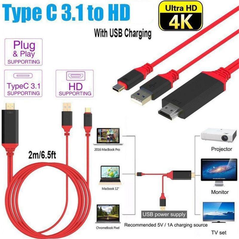 USB 3.1 Typ C bis HD 2M Kabeladapter-Konverter ULTRA 1080P 4K Ladet HDTV-Videokabel für Samsung S10 S20