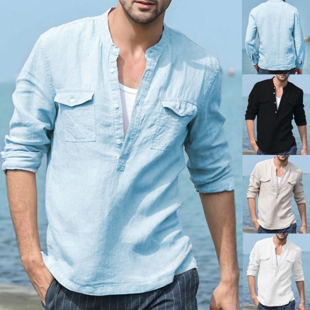 Мужские рубашки с длинным рукавом хлопчатобумажная рубашка белье дышащие рубашки с твердым мужским мужчинами повседневная тонкая подходящая стойка воротника
