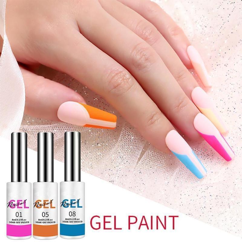 Гель для ногтей Художественная польский комплект впитается на УФ / светодиодные полупомальные дизайны чернил живопись лаком цвет салона лака K5O7