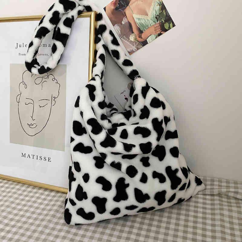 Сумки мода коров шаблон плеча женщины плюшевые мягкие осень зима FFY женские сумки сумка леди девушка путешествия кошелек мешок