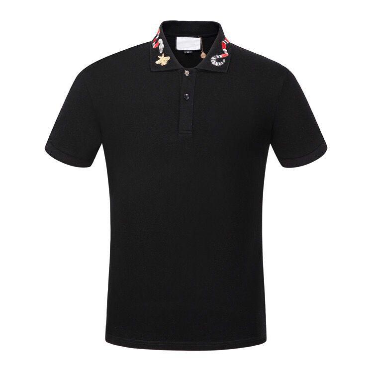 Chaud Sales Shirt De Luxe Designer Mâle Mâle Collier À Manches courtes Coton Chemise Hommes Haut Haut