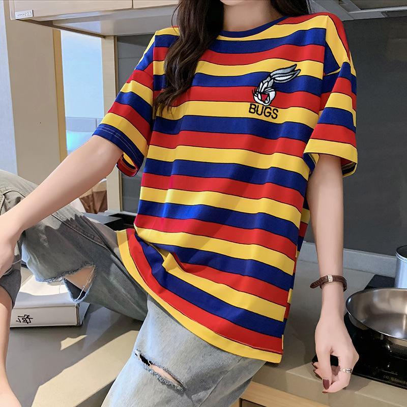 2021 Nouveau T-shirt à manches courtes en vrac de la broderie d'été coréen