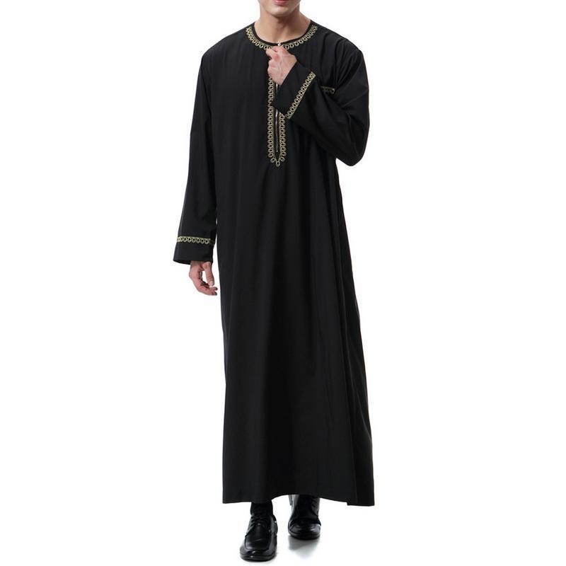 Musulmani Jubba Thobe Abbigliamento per uomo islamico Set da uomo Abaya Jilbab Shirt Moslem Robes Eid Mubarak Medio Ramadan T-shirt