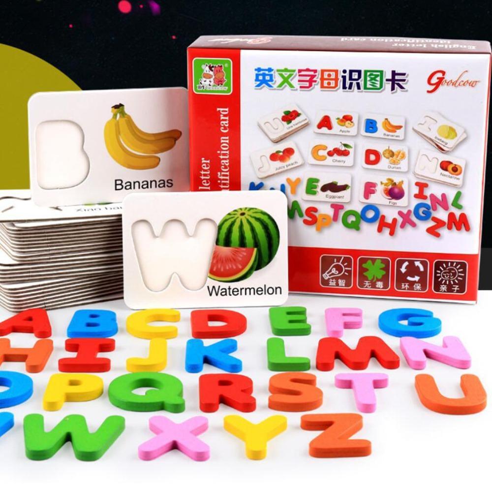 Lettera di legno frutta verdure cartolina cognitiva lettera inglese lettera lettera bambini bambini bambini puzzle educativo precoce