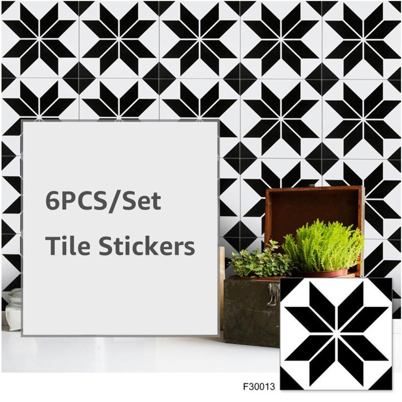 6PC/Set Tile Stickers Self Adhesive Retro Waterproof PVC Removable Wall Sticker DIY Wallpaper For Kitchen Bathroom