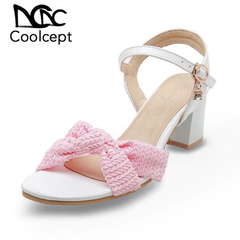Coolcept Sweet Women Sandals Buckle Mixed Color Thick Heels Shoes Daily Outdoor Office Ladies Footwear Plus Size 32-46