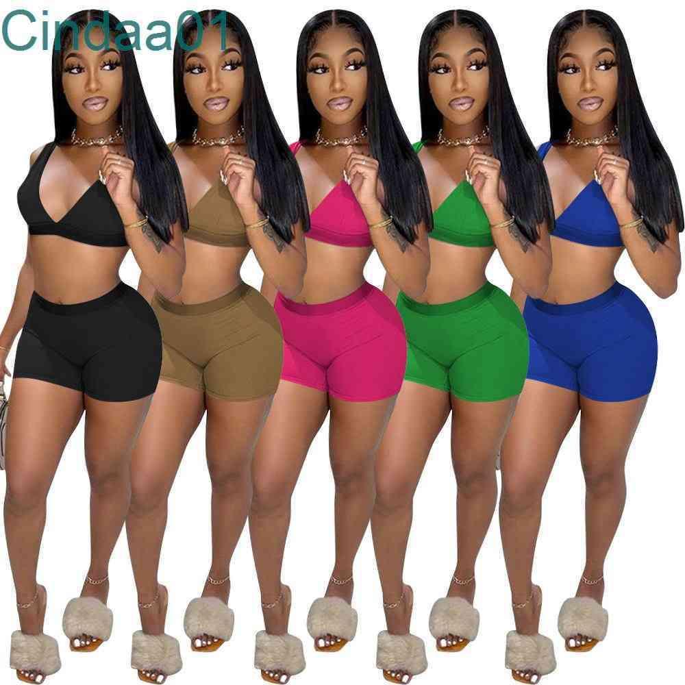 النساء رياضية قطعتين مجموعة deisgner ضئيلة مثير الصيف الترفيه الصلبة اللون الصدرية السراويل السيدات شاطئ البدلة الرياضية سترة الدعاوى