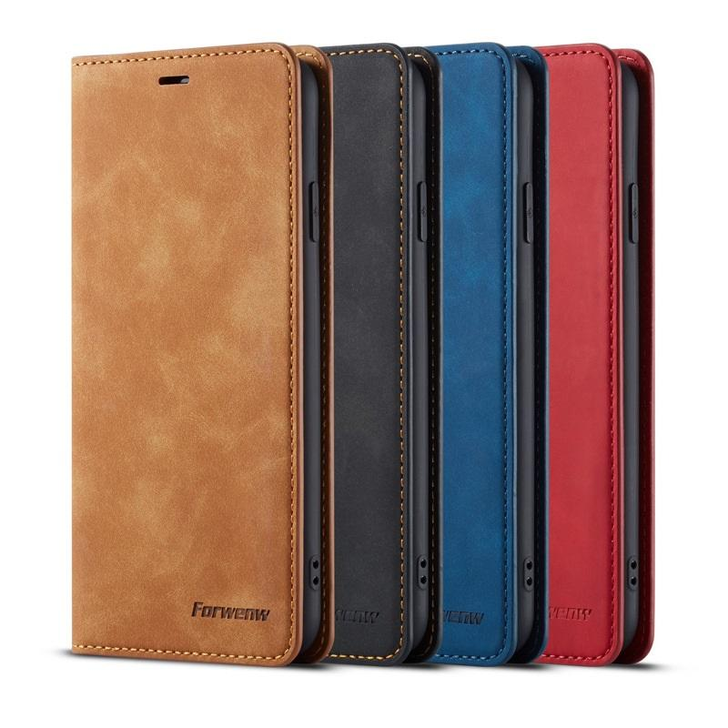 원래 Forwenw 마그네틱 지갑 케이스 가죽 범퍼 아이폰 12 11 Pro Max XS XR 8 7 6s 플러스 용 카드 슬롯 플립 자석 커버