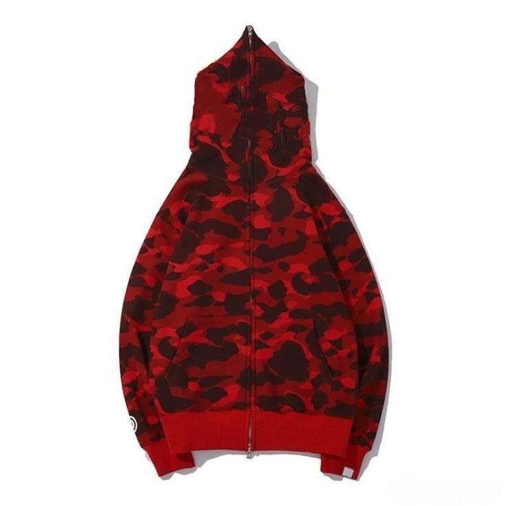 Neueste Liebhaber Camo Shark Print Baumwollpullover Hoodies Herren Casual Purple Red Camo Cardigan Mit Kapuze Jacke Größen M-2XL