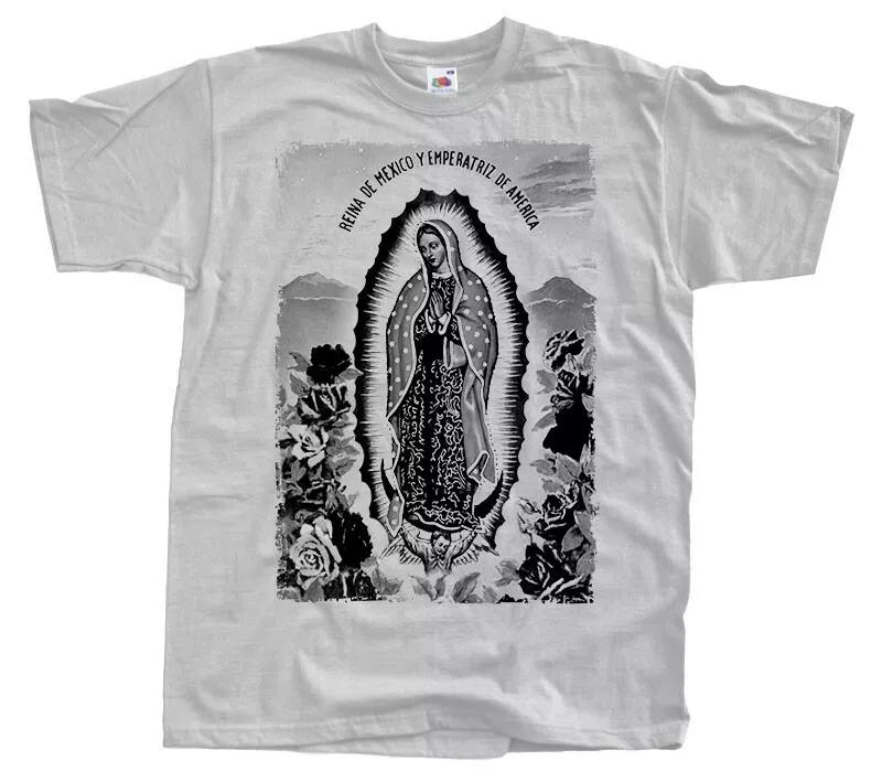 New Our Lady of Guadalupe Mens T-shirt GRAY Virgin Blessed Mary size S-5XL