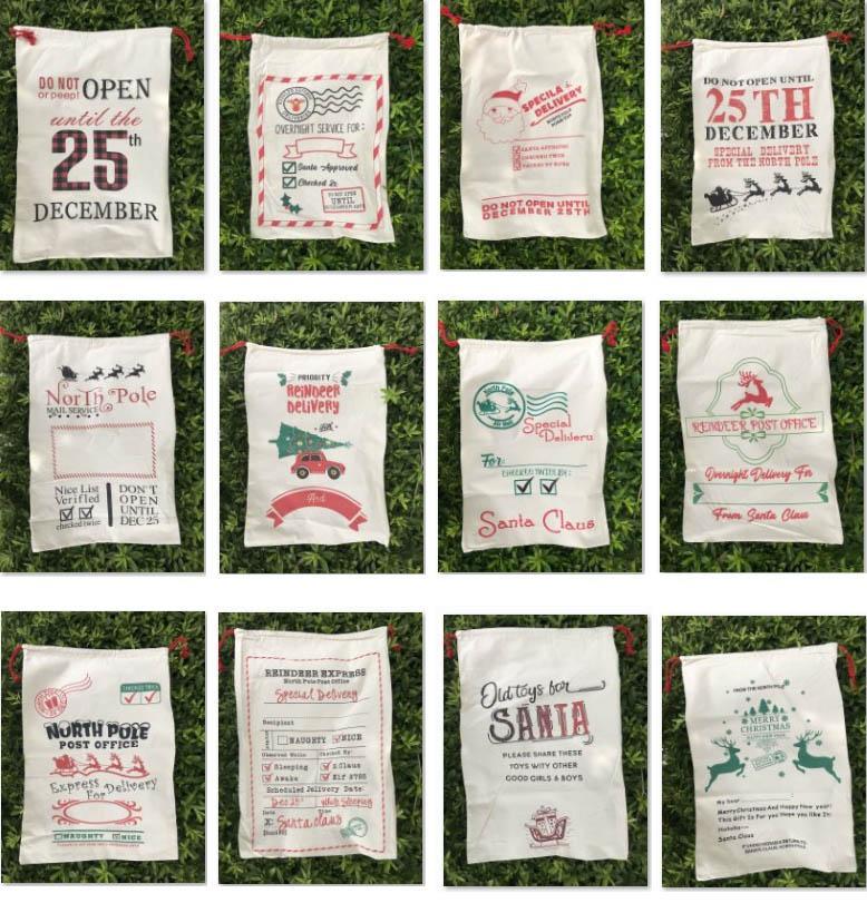 Weihnachtstasche Santa Sack Baumwolle Kordelzug Leinwand Geschenk Taschen Süßigkeiten Aufbewahrungsbeutel Weihnachten Dekoration Kostenloses DHL-Schiff HH21-498