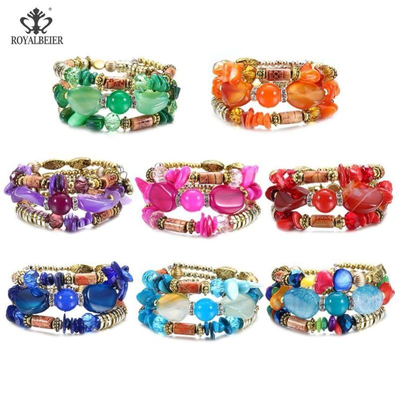 Charme Armbänder Lubrätzy Böhmische Kristallperlen Armband Ethnische Steinperle Frauen 0801 Multicolor Optional Großhandel