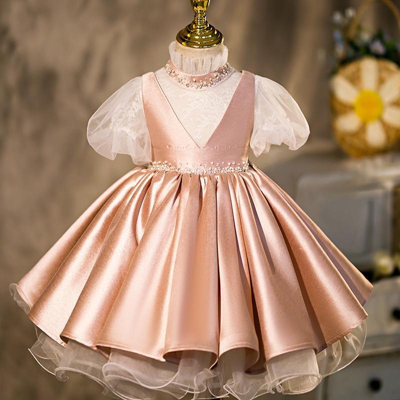 Vestidos de niña LJW Infantil para niña Lace Princess Vestido 1er año Bautismo Bautismo Born Ropa 6-5T desgaste