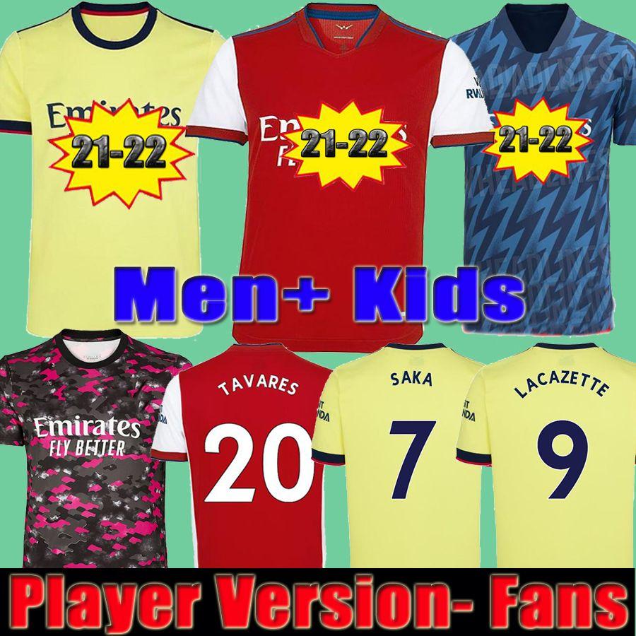 Arsenal Camiseta de fútbol Arsen 21 22 Versión del jugador PEPE SAKA THOMAS WILLIAN NICOLAS TIERNEY 2021 2022 chandal Hombre + Kit de niños la soccer jersey carrera cuarto cua