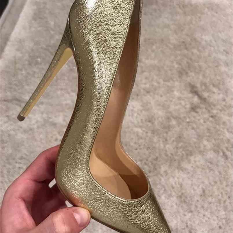 12cm Heels Frauen Pumps Schuhe Spitz Gold dünne High Heels Sexy Hochzeit Party Offizielle Schuhe Frau Große Größe 45 210408