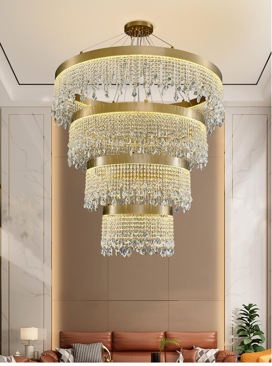 REDONDO / OVAL / RECANGLUR LED Lámparas de araña de cristal Lámparas para la sala de estar Dormitorio Luces de suspensión Luces de cocina Escalera del hotel Lobby Iluminación