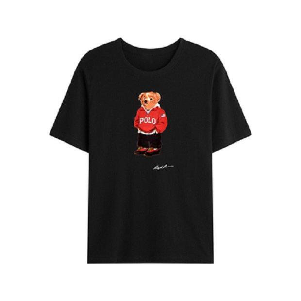 T-shirt de urso de mangas curtas T-shirt de alta qualidade Polo padrão 100% algodão solto impressão casual t s tamanho L-3XL