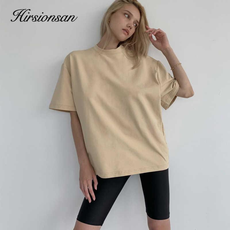 Hirsionsan Sommer Baumwolle Sets Frauen Lose Zwei Teile Kurzarm T Shirts und enge Shorts Solide Outfits Trainingsanzug 210603