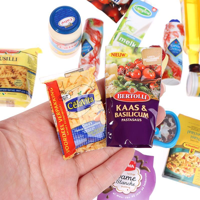 1 قطعة البلاستيك مصغرة سوبر ماركت لعب الضروريات اليومية زجاجة المعلبة الغذاء لعب الأعمى حقيبة