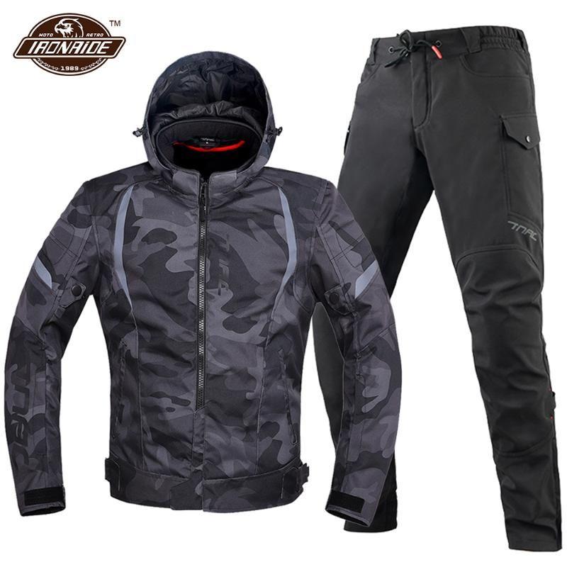 Kamuflaj Motosiklet Takım Su Geçirmez Ceket Erkekler Motocross Chaqueta Moto Rüzgar Geçirmez Koruma Seti Giyim