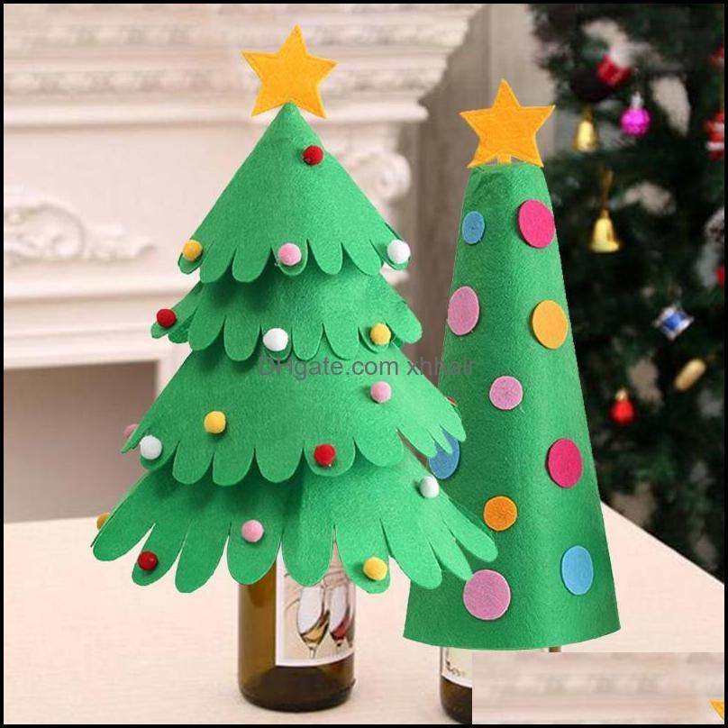 Natal festivo festa casa gardenchristmas decorações waasoscon garrafa de vinho er árvores forma ornamentos para decoração de mesa suprimentos cair