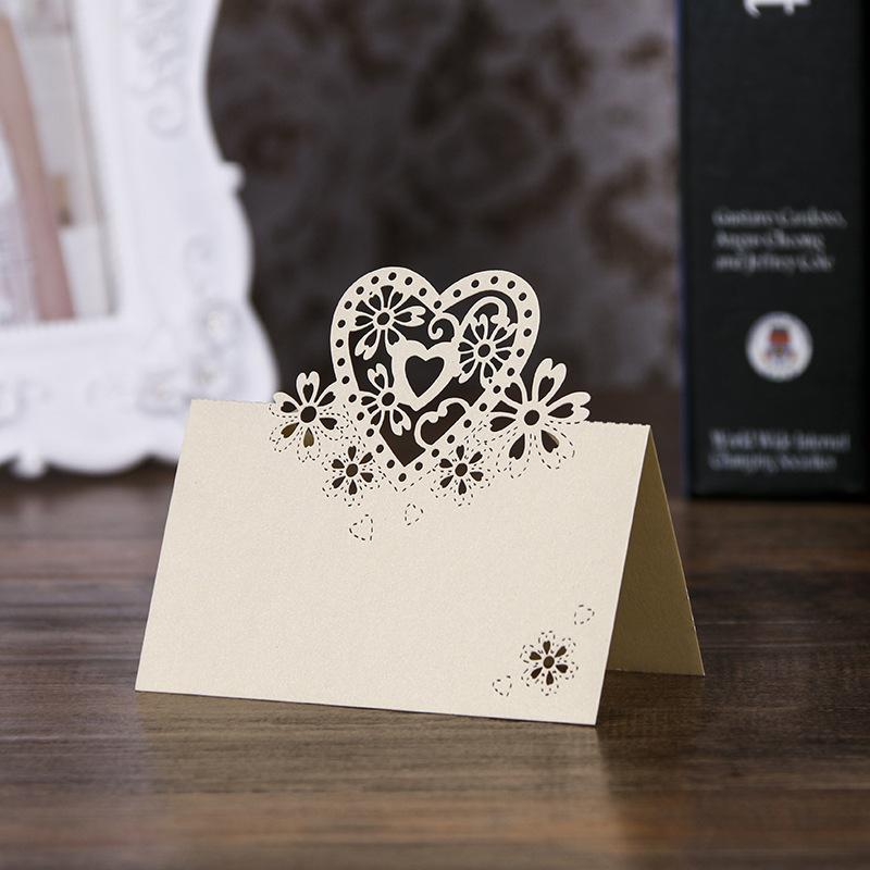 40pcs Laser Cut Love Table Name Place Card Wedding Decoration Party Favors Pearl Paper Table Place Card Wedding Supplies 1294 V2