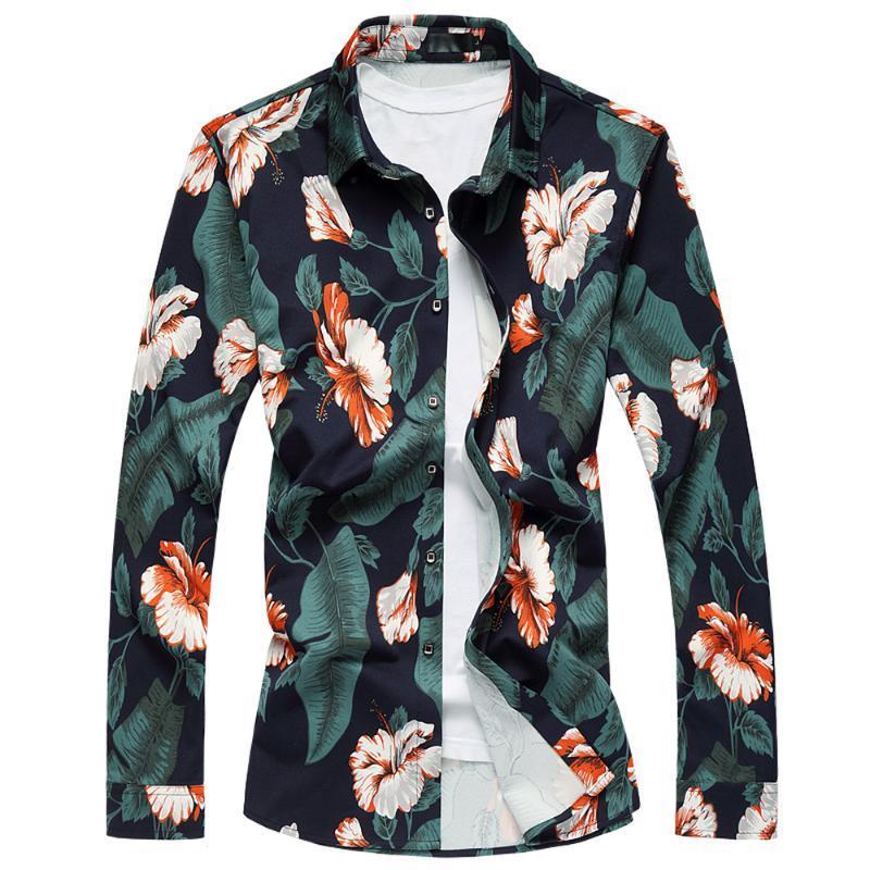 셔츠 남성 의류 대형 M-7XL 긴 소매 꽃 인쇄 드레스 셔츠 봄 가을 패션 캐주얼 하와이 남성 탑스 남자