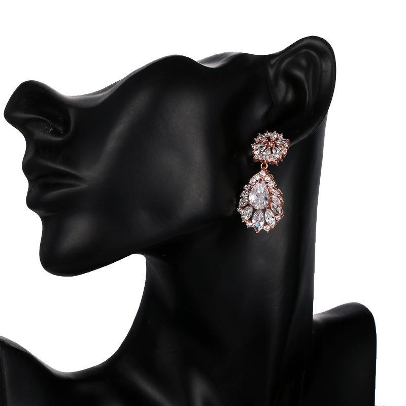 Silver Flowers Rhinestone Crystal Bridal Wedding Tear Drops Luxury Bridesmaid Jewelry Accessories