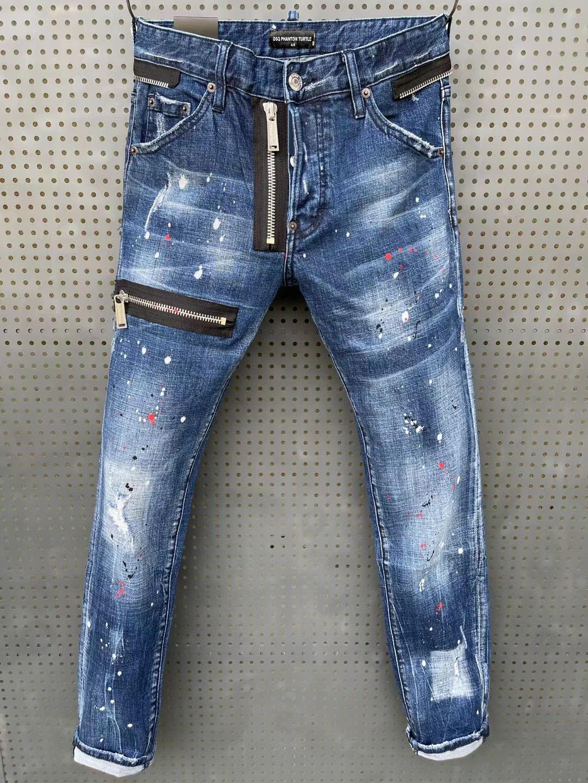 DSQ Phantom Tortue Classic Fashion Man Jeans Hip Hop Rock Moto Mens Casual Design Décontracté Jeans Détresse Skinny Denim Biker DSQ Jeans 81249